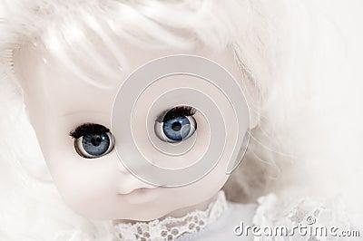 Vintage doll s face closeup