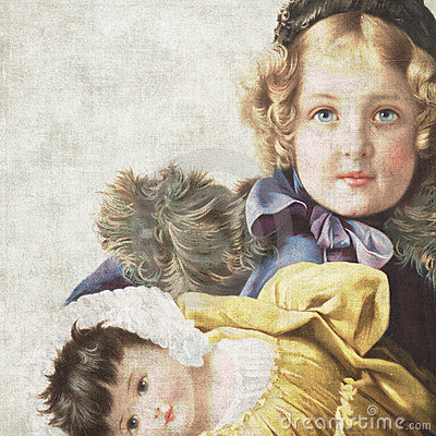 Free Vintage Doll Scrapbook Paper Stock Photo - 5392320