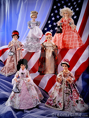 Vintage dolls on u.s. flag presidents