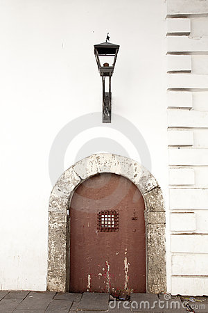 Vintage door and lamp