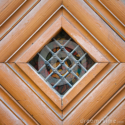 Free Vintage Door Spyhole With Stained Glass Window And Grid Stock Photos - 79096953