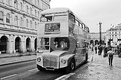 Vintage double decker bus in London Editorial Photography