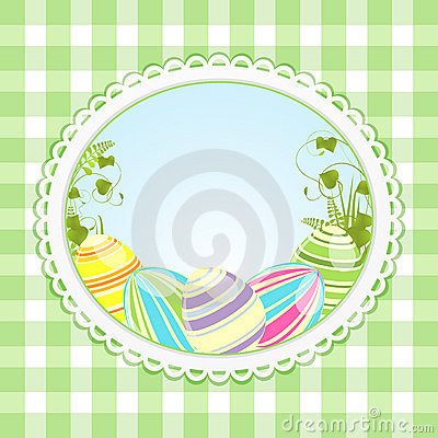 Vintage easter background and ginghaml