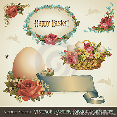 Free Vintage Easter Design Elements Royalty Free Stock Photo - 13524165