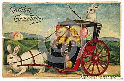 Vintage Easter Greetings Postcard