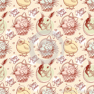 Free Vintage Easter Seamless Background Stock Image - 38438411