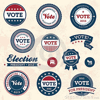 Free Vintage Election Badges Royalty Free Stock Photo - 22547215