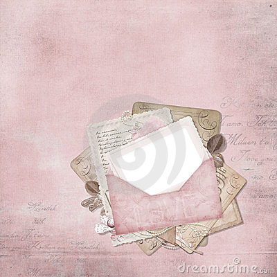 Vintage elegant frame with envelope