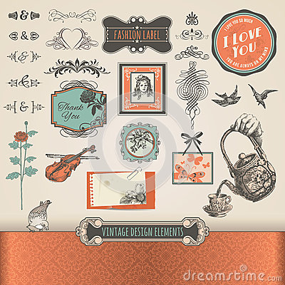 Free Vintage Elements And Labels Royalty Free Stock Photo - 25077735