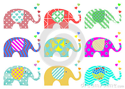 Vintage elephants. Retro pattern. Textures and geometric shapes. PNG available Stock Photo
