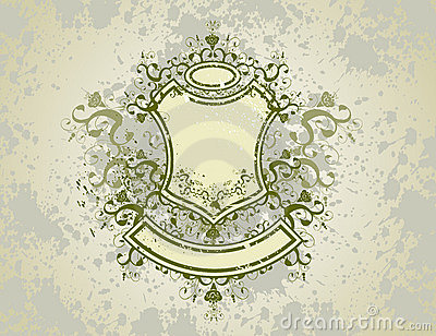 Vintage emblem - flowers ornament on grunge background