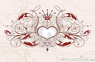 Vintage emblem with heart