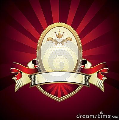 Vintage emblem on red