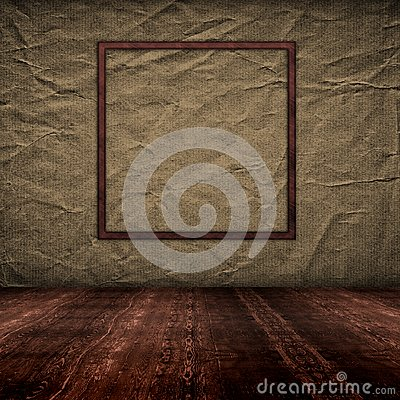Vintage empty interior with grunge paper wall