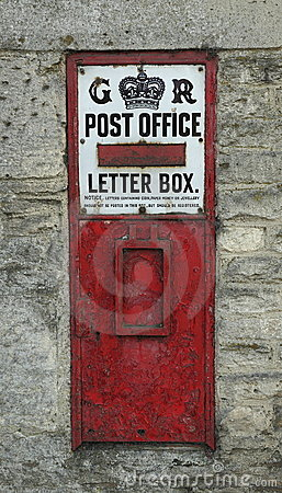 Vintage English Post Office Box Editorial Stock Image