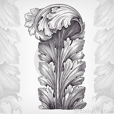 Vintage Engraving Acanthus Ornament Foliage Stock Photography - Image: 22224472