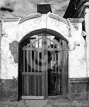 Vintage entrance to an old house