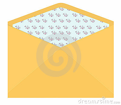 Vintage envelope with flower pattern inside