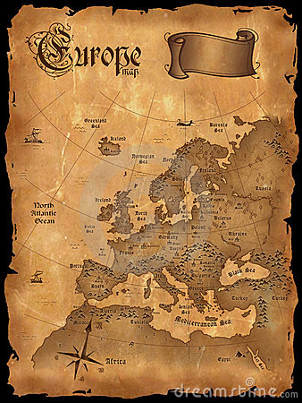 Vintage Europe map vertical