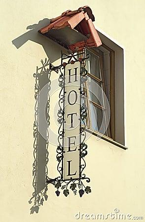 Vintage european hotel sign