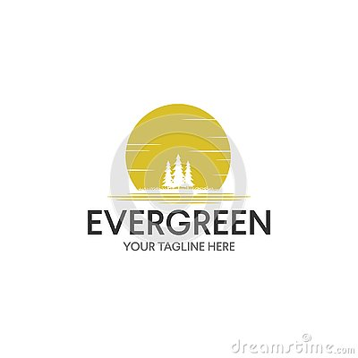 Vintage Evergreen / Pine tree Logo design inspiration Vector Illustration