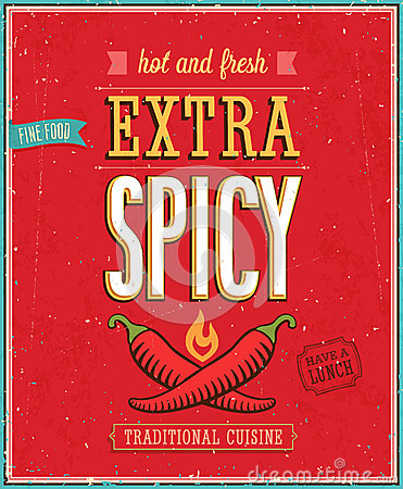 Free Vintage Extra Spicy Poster. Royalty Free Stock Images - 33690929