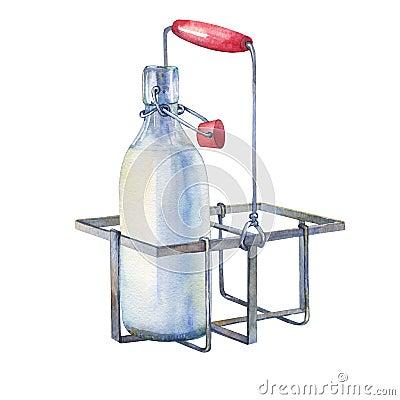 Free Vintage Farmhouse Kitchen Metal Holder Rack With Bottles Of Milk. Royalty Free Stock Photography - 86318517