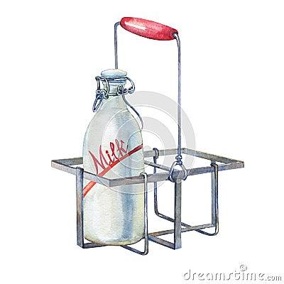 Free Vintage Farmhouse Kitchen Metal Holder Rack With Bottles Of Milk. Royalty Free Stock Photography - 86318567