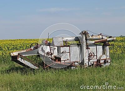 Vintage farming harvester combine