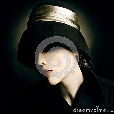 Free Vintage Fashion Woman Portrait Royalty Free Stock Image - 25585076