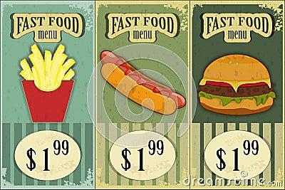 Vintage fast food labels