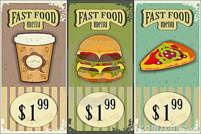 Vintage fast food labels
