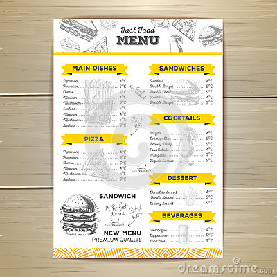 Vintage fast food menu design. Vector Illustration
