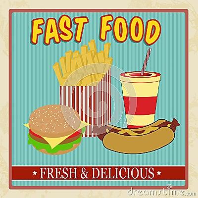 Vintage fast food menu