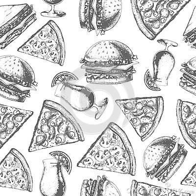 Vintage fast food seamless pattern Vector Illustration