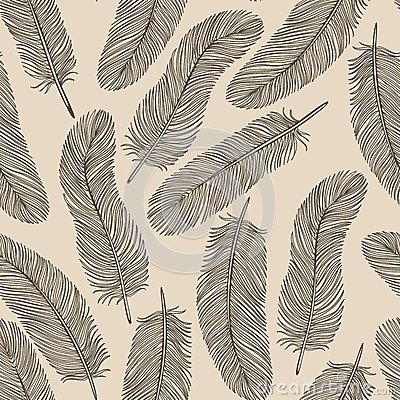 Vintage Feather seamless background.