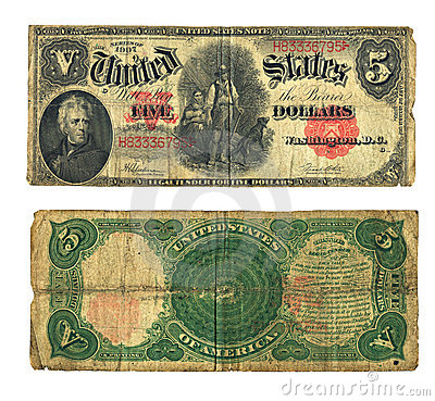 Vintage Five Dollar Bill in US Currency