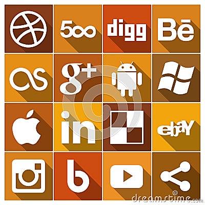 Vintage Flat social media Icons Set 2 Editorial Photo