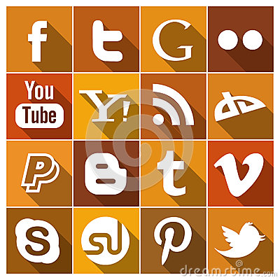 Vintage Flat social media Icons Editorial Stock Image