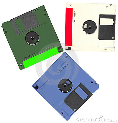 Vintage floppy data computer disks heap, plastic