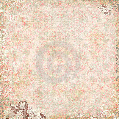 Vintage Floral and angels Wallpaper