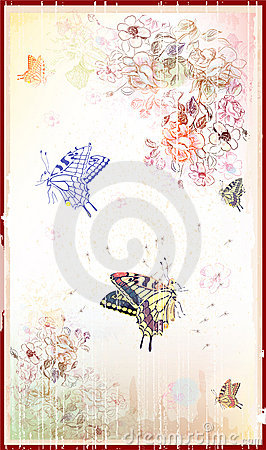 Free Vintage Floral Background With Butterflies Royalty Free Stock Photography - 14906367