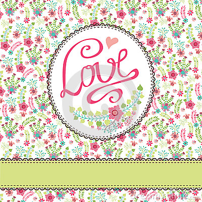 Free Vintage Floral Card With Colorful Flowers.Inscription Lo Stock Photo - 41736590