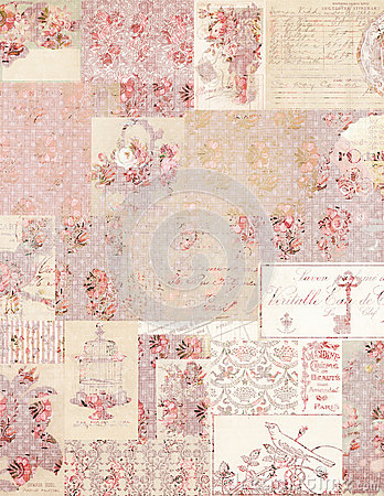 Free Vintage Floral Collage Background Stock Photography - 27747492