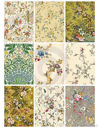 Vintage Floral Collage Sheet Or Tags Royalty Free Stock Photos - Image: 14003548