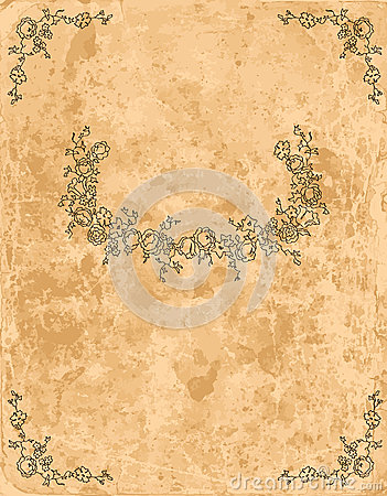 Vintage floral frame on old paper sheet