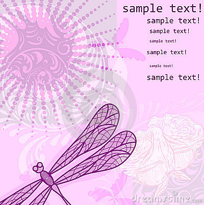 Vintage floral grunge background with dragonfly