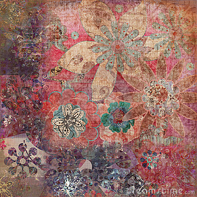 Vintage Floral Grunge Bohemian Tapestry Scrapbook Background