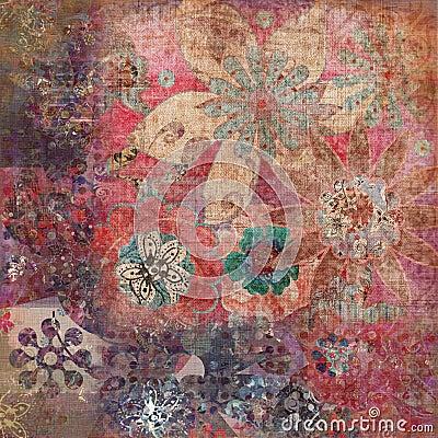 Vintage Floral Grunge Bohemian Tapestry Scrapbook