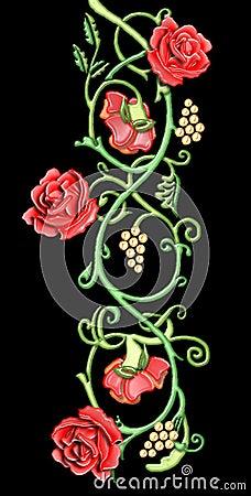 vintage floral motif of red roses